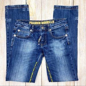FRANKIE MORELLO Blue Distressed Straight Leg Jeans